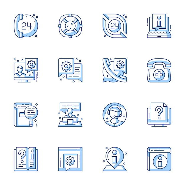 Customer service, online support linear vector icons set. Premium Vector