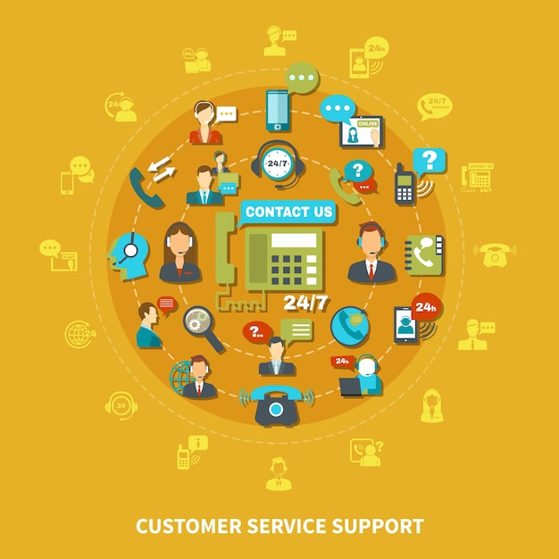 Customer service support round composition on yellow background Free Vector