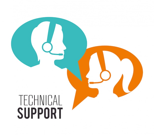 Customer service and technical support Premium Vector