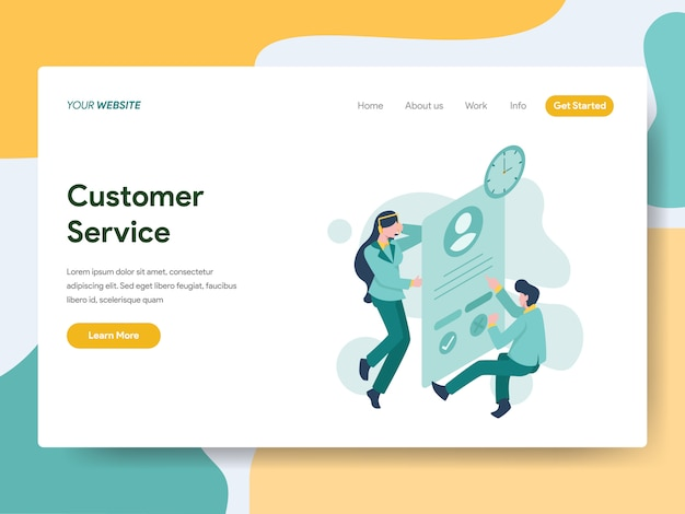 Customer service for website page Premium Vector