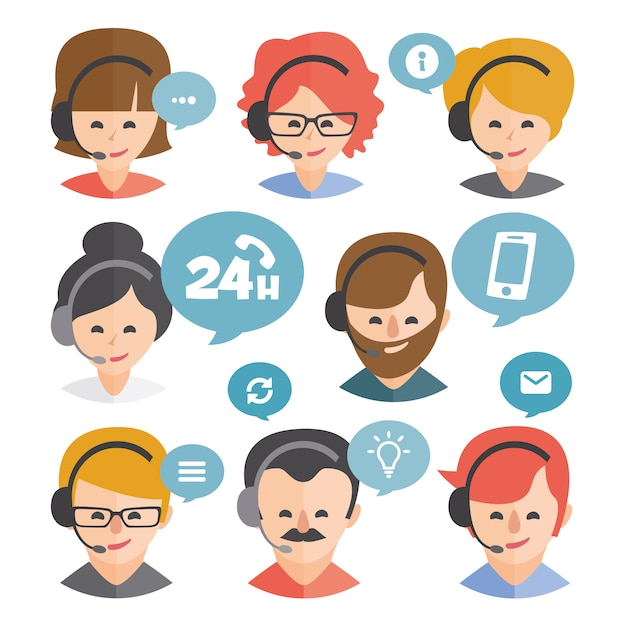 Customer services designs collection Free Vector