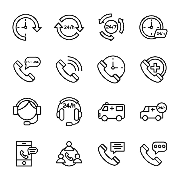 Customer services, helpline and customer support icons Premium Vector