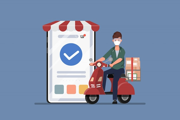 Покупатель, делающий покупки онлайн во время covid-19. оставайтесь дома, избегайте распространения коронавируса. новый нормальный образ жизни для шоппинга. Premium векторы