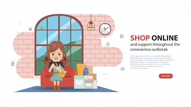 Customer shopping online during covid-19. stay at home avoid spreading the coronavirus. Premium Vector