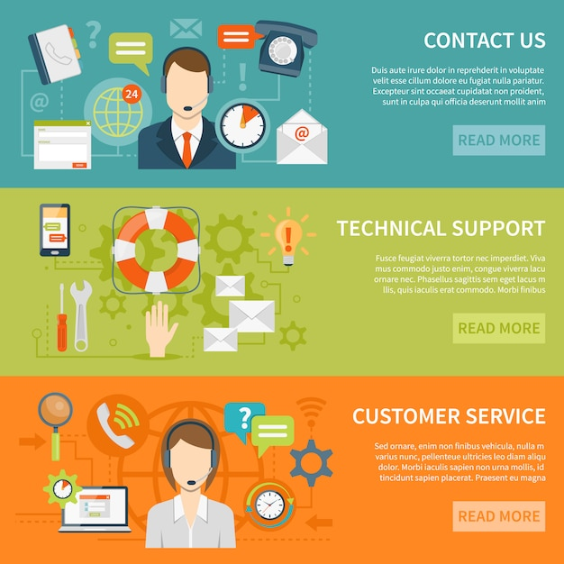Customer support banners Free Vector