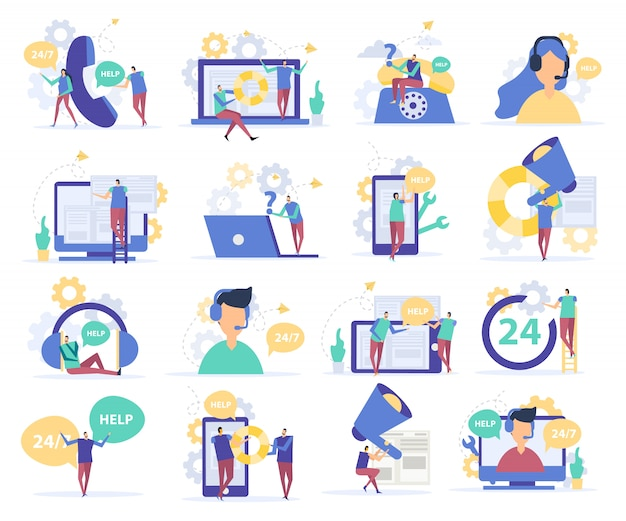 Customer support flat icons Free Vector