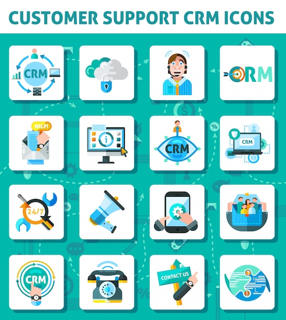 Customer support icons set Free Vector