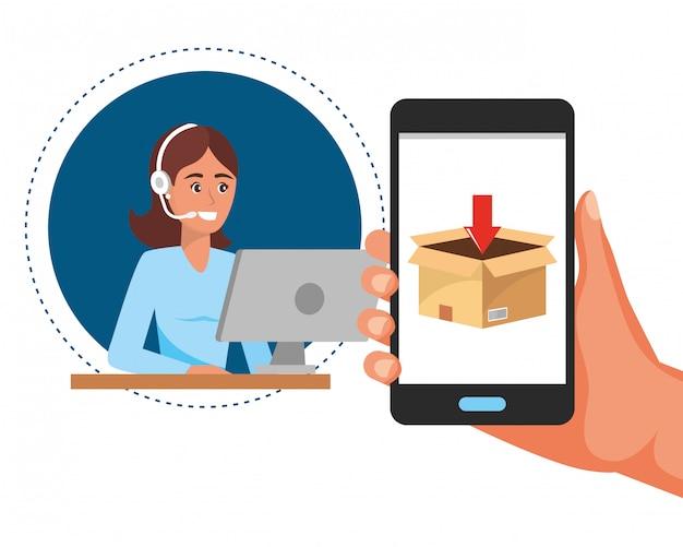 Customer support logistics service cartoon Premium Vector