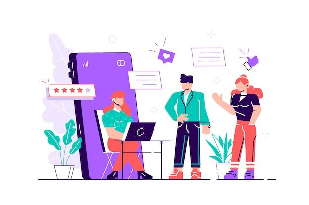 カスタマーサポートマネージャー、オンラインコンサルタント、コンピューターに座っているヘッドフォンを身に着けているコールセンターのスペシャリスト、5つ星評価、キューに並んでいるクライアントのグループ。 Premiumベクター
