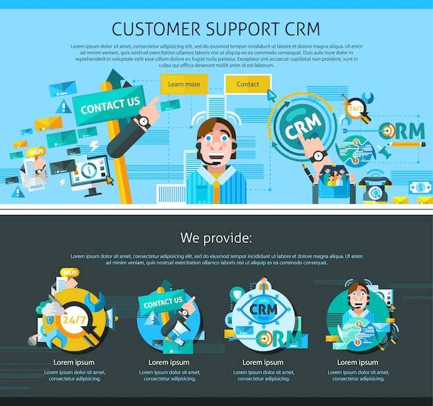 Customer support page design Free Vector