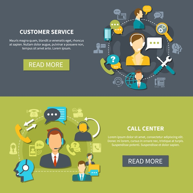Customer support service banners Free Vector