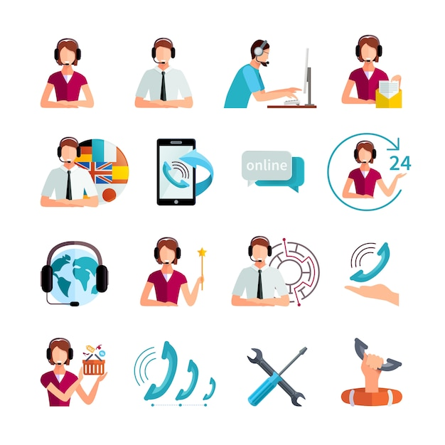 Customer support worldwide service flat elements set with helpdesk operator and technical assistance abstract isolated vector illustration Free Vector