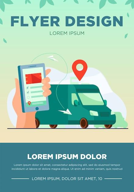 주문 배송을 추적하기 위해 모바일 앱을 사용하는 고객. 위의지도 포인터와 함께 거리에 스마트 폰 및 택배 밴으로 인간의 손. gps, 물류, 서비스 개념에 대한 벡터 일러스트 레이션 무료 벡터