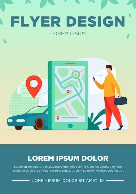 택시 주문 또는 렌트카를 위해 온라인 앱을 사용하는 고객. 도시지도에 택시를 검색하는 사람. 자동차 공유 서비스, 도시 교통, 응용 프로그램 개념에 대한 벡터 일러스트 레이션 무료 벡터