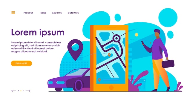 Cliente che utilizza l'app online per ordinare un taxi o noleggiare un'auto Vettore gratuito