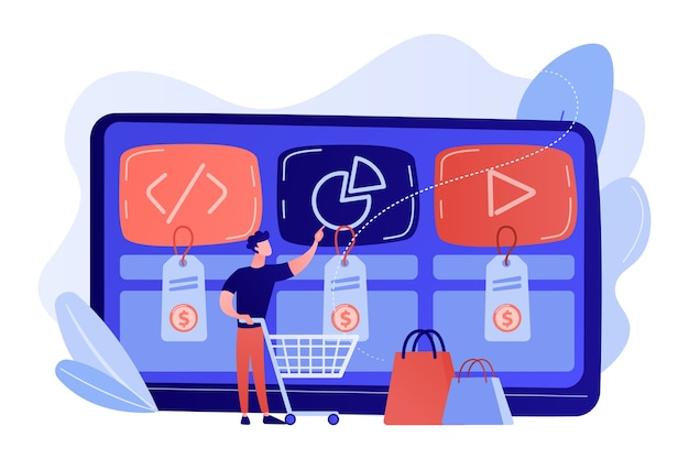 Customer with shopping cart buying digital service online. digital service marketplace, ready digital solution, online marketplace framework concept illustration Free Vector