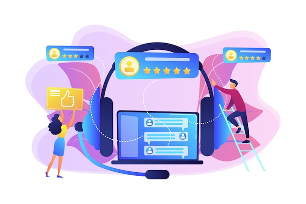 ラップトップとヘッドセットの顧客は親指をあきらめ、星を評価します。顧客フィードバック、顧客評価フィードバック、顧客関係管理の概念。 無料ベクター