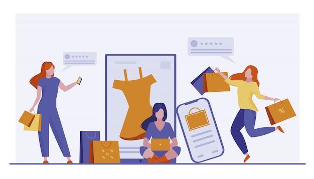 Clienti che acquistano beni online Vettore gratuito