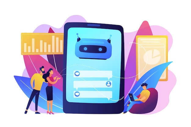 Customers chat with chatbot on smartphone screen with speech bubbles. customer service chatbot, e-commerce chatbot, self-service experience concept. bright vibrant violet  isolated illustration Free Vector