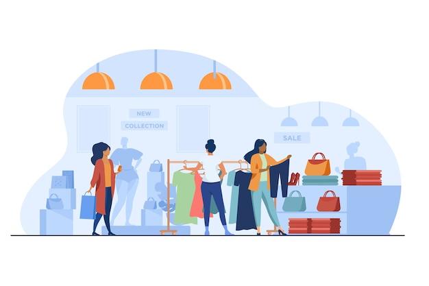 Clienti nel negozio di moda. donne che scelgono i vestiti nell'illustrazione piana di vettore del negozio. shopping, vendita, concetto di vendita al dettaglio Vettore gratuito