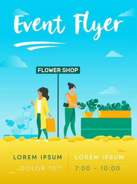 Клиенты в шаблоне флаера цветочного магазина Бесплатные векторы
