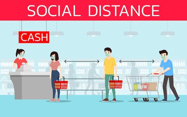 Клиенты сохраняют социальное дистанцирование, чтобы предотвратить коронавирус или covid-19 в супермаркетах. Premium векторы