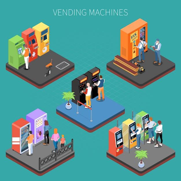 Customers near vending machines with goods and services isometric composition vector illustration Free Vector