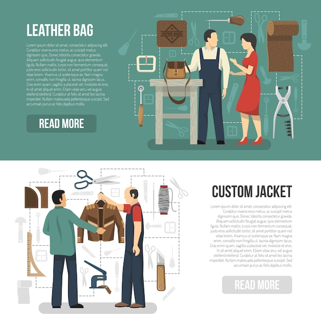 Customers and skinners horizontal banner set Free Vector