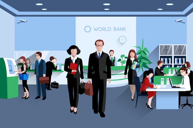 Customers and staff people in bank interior flat Free Vector