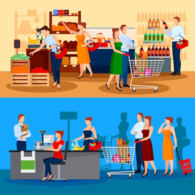 Customers of supermarket compositions with choice of products Free Vector