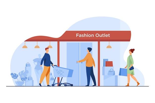 패션 아울렛에 들어가는 고객. 쇼핑객, 입구, 카트, 창 평면 벡터 일러스트 레이 션. 소비, 옷 구매, 소매 개념 무료 벡터