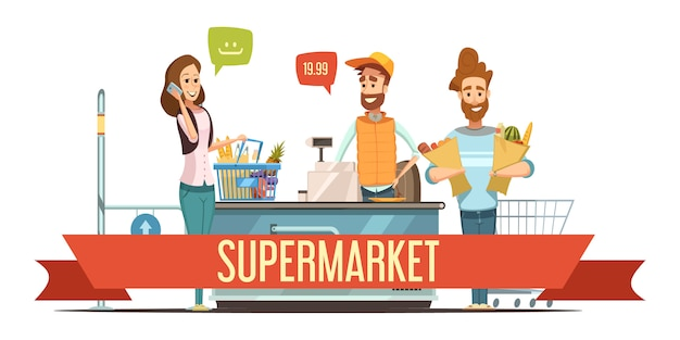 Customers with brown paper grocery bags and cashier Free Vector