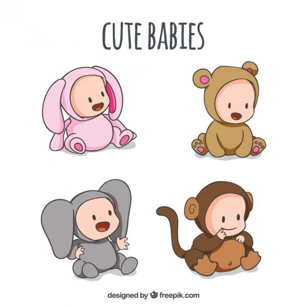 愛らしい動物customesと手描きの赤ちゃん 無料ベクター