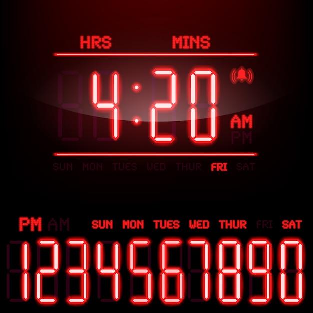 Customisable glowing digital clock meter Vector | Premium