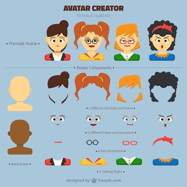 Customizable Female Avatar Creator Vector Premium Download