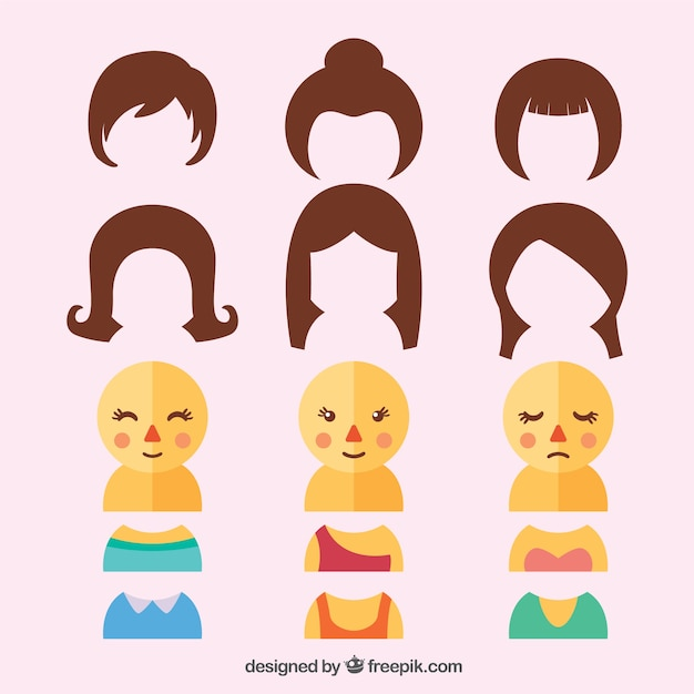 Customizable female characters Free Vector