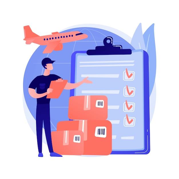 Таможенное оформление абстрактной концепции векторные иллюстрации. таможенные пошлины, эксперт по импорту, лицензированный таможенный брокер, грузовая декларация, контейнер для судна, абстрактная метафора онлайн-уплаты налогов. Бесплатные векторы