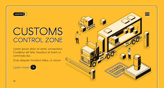 Customs control zone online services web banner with customs officers inspecting Free Vector