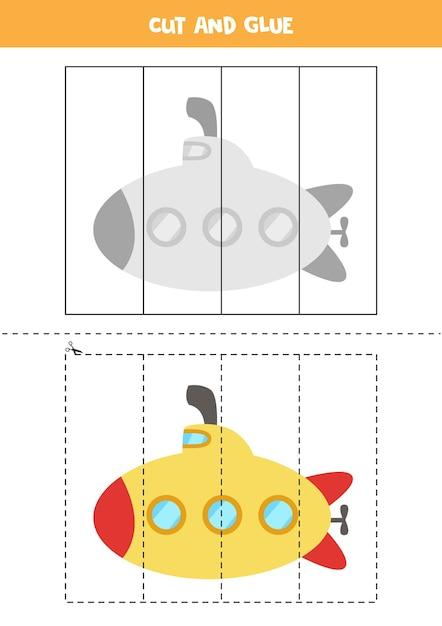 漫画の潜水艦を持つ子供のためのカットアンドグルーゲーム。未就学児のための切断の練習。 Premiumベクター