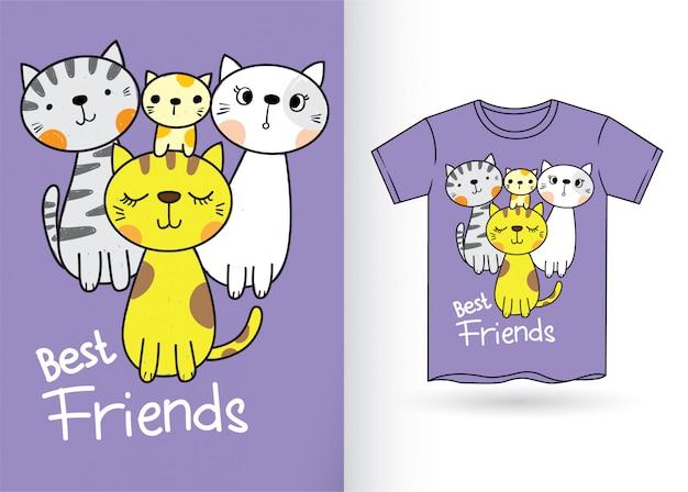 Cut cats for t shirt Premium Vector