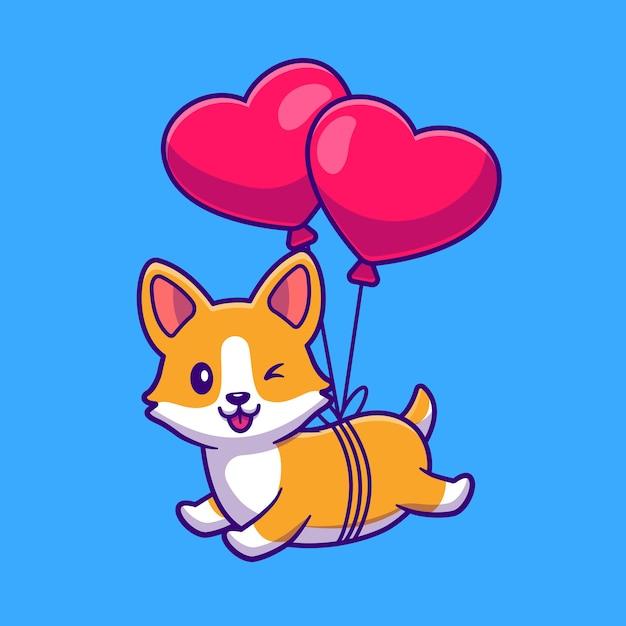심장 사랑 풍선 만화 아이콘 일러스트와 함께 떠있는 corgi 개를 잘라. 무료 벡터