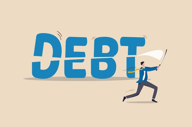 Cut debt, negotiate with bank or debtor to reduce amount of loan and mortgage payment Premium Vector