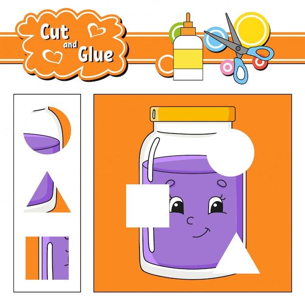 Cut and glue. education developing worksheet. Premium Vector