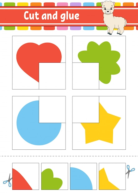 Cut and glue game for kids Premium Vector