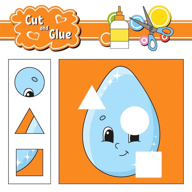 Cut and glue. Premium Vector