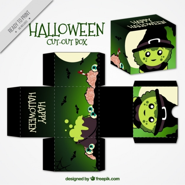 Cut Out Box With Halloween Witch Free Vector