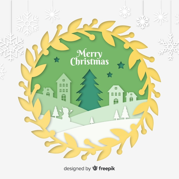 Cut out christmas town background Free Vector