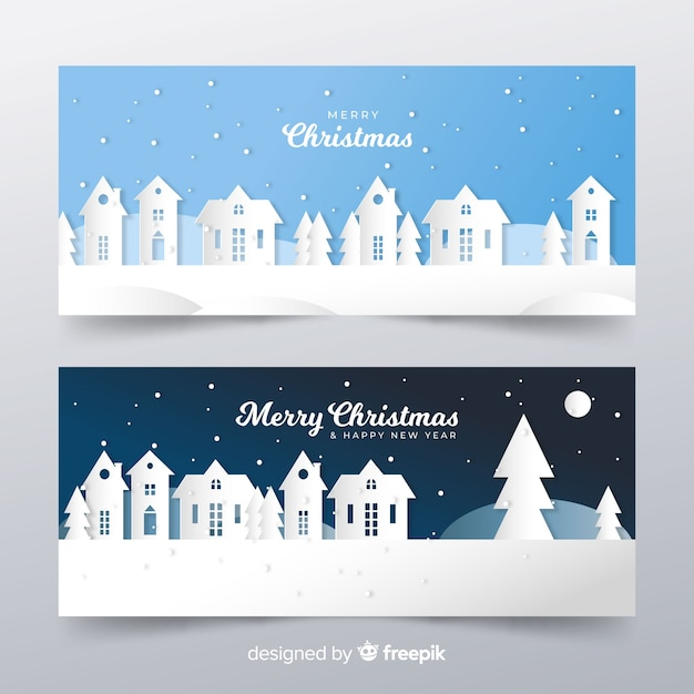 Cut out christmas town landscape banner Free Vector
