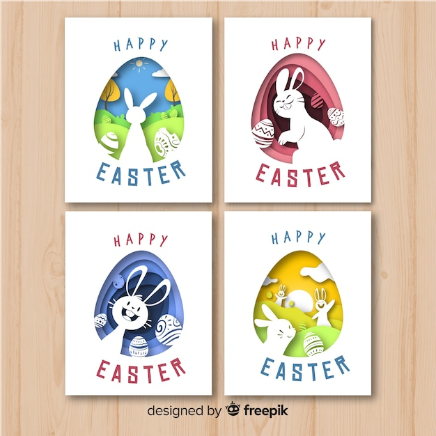 Cut out easter card pack Free Vector