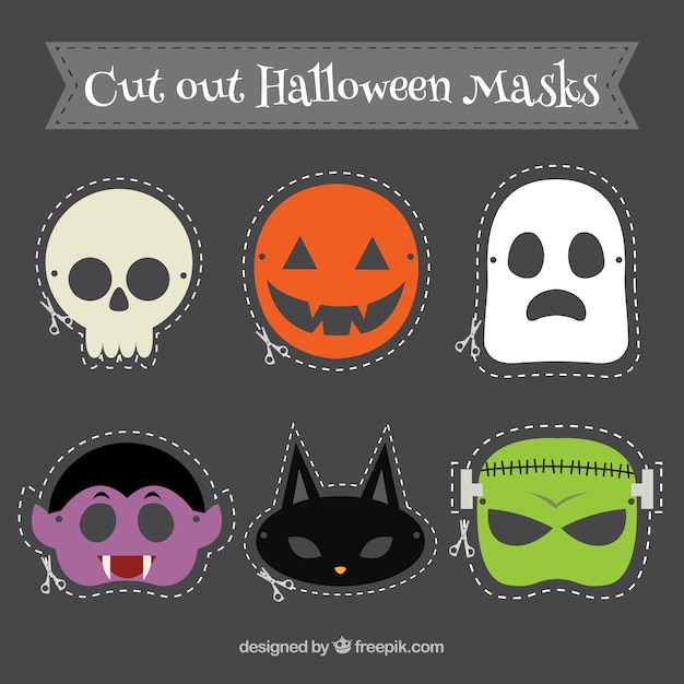 cut out halloween masks premium vector - Premium Halloween Masks